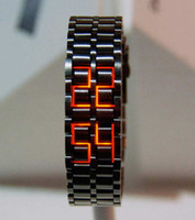 led lava watch - Led watch Red or bule LED Watch ring table LED SHARP Lava Style Iron Samurai Metal fashion watches