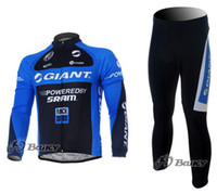 Wholesale 2016 MEN S SPRING AUTUMN CYCLING JERSEY BIB PANTS SET LONG SLEEVES GIANT TEAM SUIT PIECE SETS Top quality