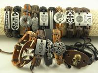 Wholesale Promotion Handmade Genuine Leather amp Hemp Wristband Bracelets Leather Id Braided Bracelet Factory Price Mix Order