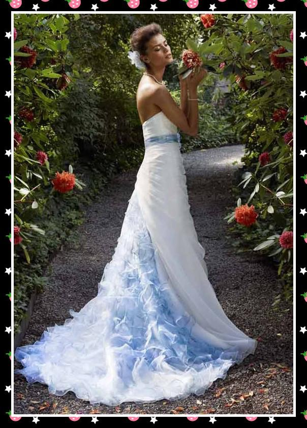 Designers White Blue Bridal Wedding Dresses Strapless Flouncing ...