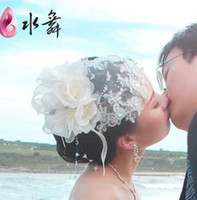 white rice - A kiss to promise the beauty of rice white lace the bride hat headdress flower