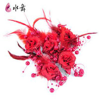Wholesale Water dance big red flash powder feather beaded flowers the bride headdress flower the bride tire su