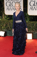 Wholesale 2012 New Golden Globe Awards Sexy Helen Mirren Long Sleeves Ruffles Beaded Belt Celebrity Dresses