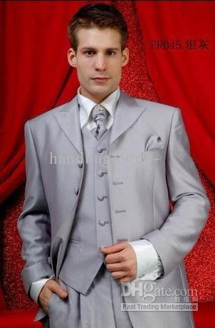 2017 Custom Silver Color Bridegroom Prom Party Clothing Suits ...