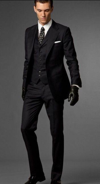 2017 Black Stripe Men's Suits Bridegroom Prom Party Clothing Groom ...