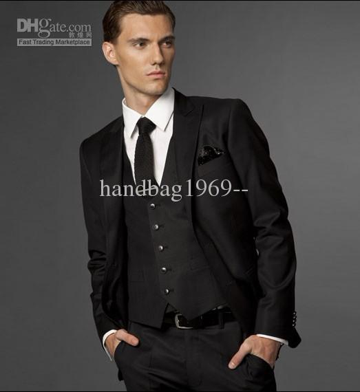 Vogue Men's Black Prom Party Clothing Suits Groom Tuxedos Custom ...