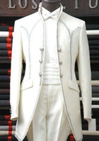 Wholesale Real Photo White Groom Tuxedos With Silver Decorate Button Charming Men Blazer Prom Dress Business Suits NO
