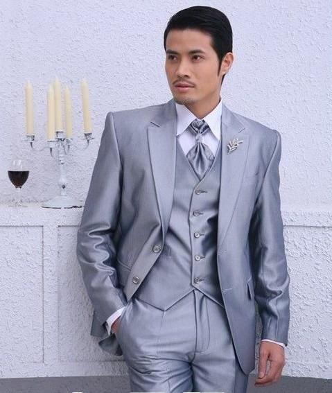 2017 Silver Color Men's Formally Prom Party Clothing Suits Groom