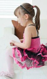 Wholesale Rose and pink sleeveless Children ballet skirt girl tutu dance dress dancing dress baby skirt