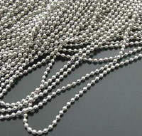 Alloy Chirstmas white Wholesale- 100pcs Silver Plated Dog Tag Ball Chain Necklaces 2.4mm Bead stainless bead chain FG1