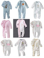 Spring / Autumn baby playsuit animal - 2015 Newborn infant baby vFirst Moments Sleepers Pajama Playsuit Overalls Bodysuits sleeper Infant Jumpsuits Garments Free Ship