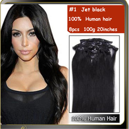 Wholesale 20 quot euronext hair extensions straight clip in human hair extensions in jet black g HC086