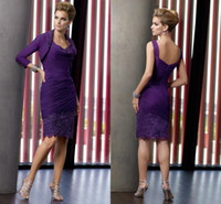 Wholesale 2012 Purple Long Sleeve Lace Chiffon Ruched Mother of The Bride Groom Dresses Bolero Evening Dress