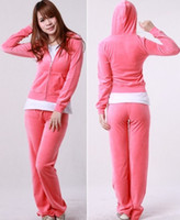Long Sleeve velour tracksuit - Pure Pink Women Tracksuit Velour Hoodie Pants S M L XL MIX OF