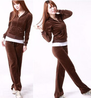 Regular velour tracksuit - Women Velour Tracksuit Hoodie Snap Pocket Pants Brown S M L XL MIX OF