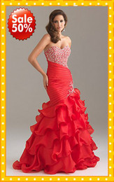 Wholesale Stock off NEW Mermaid Red Pink Sweetheart Ruffles Evening Prom Dresses Formal Dress Gown