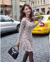 Wholesale on sale fashion Long sleeved Cultivating Roses Tunic Lace Dress Women s Clothing Casual Dresses Apparel Hot