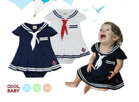 Wholesale baby girl summer outfit short sleeve romper skirt onesies dress overall sailor navy skirt dress