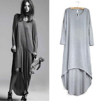Women's Dresses Round Collar Long Sleeve Loose Casual Long D...