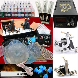 Wholesale Beauty Tattoo Regular Guns Kit Bottles Inks ML Pigment Power Supply Ink Cups