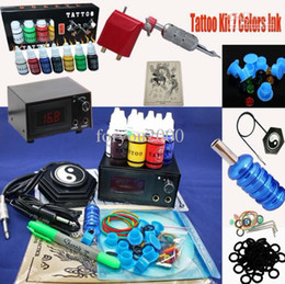 Wholesale Pro Tattoo Kit Rotary Red Tattoo Machine Power Supply System Color Inks Needle Tip Grip Hot