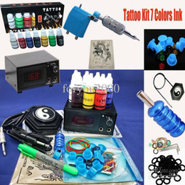 Wholesale Pro Tattoo Kit Rotary Tattoo Machine amp LED Power Supply amp Inks Needle Tip Grip Accessory