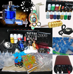 Wholesale Red MIN Power Supply System amp Blue Rotary Tattoo Machine Gun Kit Inks set Ink Cups Accesso