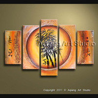 abstract items - Feng Shui Item Wall Decor Canvas Art Bamboo Abstract Oil Painting Modern