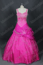 Wholesale Hot Purple Spaghetti Strap Beaded Sequin Sleeveless Organza Ball Gown Quinceanera Dresses Lace Up