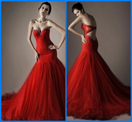 Wholesale Exquisite Red Trumpet Sweetheart Sleeveless Brush Beaded Crystals Organza Quinceanera Dresses A2