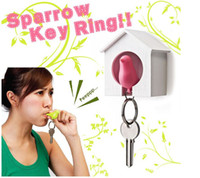 Wholesale sparrow key ring whistle key ring key holder anti lost key seat bird house morden home