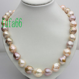 BEAUTIFUL!GENUINE! RAINBOW BAROQUE PEARL NECKLACE