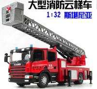 Plastic Alloy  New Children's Gifts-1:32 scania Aerial Ladder fire engine Truck Children Toy Car Toy Alloy Model Car 2 model