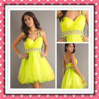 Lastest Fashional Sexy One- shoulder Bead Short Party Dress C...
