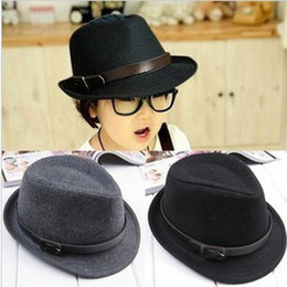warm fashion kids winter hats baby children fedora jazz hat Caps head accessories black grey color