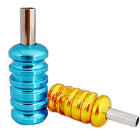 Wholesale Yellow and Blue Aluminum Alloy tattoo grip with back stem