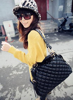 Wholesale 2012 new women s fashion Handbag Cotton Bags Diamond Grid Rivets Bag Shoulder Bags Messager bag MIX