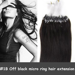 Wholesale 100S quot micro loop ring hair extensions straight brazilian hair extensions in black B g HL038