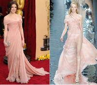 Wholesale Anna Kendrick Off The Shoulder Chiffon Slid Coral Golden Globes Chiffon Lace Celebrity Dresses