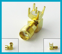 100X Goldplated SMA female Jack right angle PCB mount thru h...
