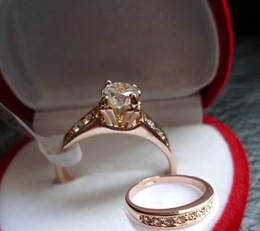 Wedding Ring Ladies 18 K gold-plated CZdiamond Rhinestone ring Simulated Diamond Rings and crystal with red box