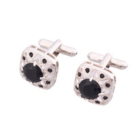 Wholesale Men Cuff Link Platinum Crystal Cufflinks Black amp White Ship From USA Pairs