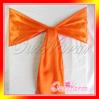 Wholesale 50 Orange Chair Sashes banquet Sash Wedding Bows Tie Decor Craft Gift Party