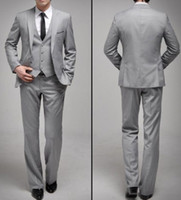 Men mens dress suit - Premium Mens slim fit two Button Light gray dress suit pant SU04