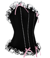 Women Corset & Bustier  popular lady black lace corset basque , strap full bust boned bustier shaper with panty