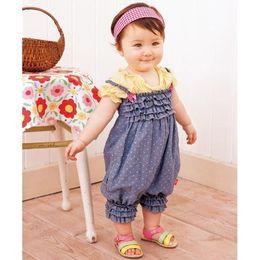 Wholesale Romper Siamese trousers Denim harnesses Girls baby dress pieces pants