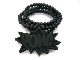 Wholesale Hip Hop POW Piece Good Wood Chain Necklaces Natural beads Pendants mixed colors