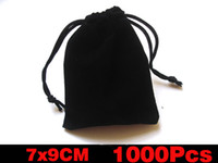 Wholesale 7x9CM Jewelry Bag Gift Bag Black Velvet Jewelry Gift Bags Pouches
