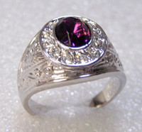 Wholesale Exquisite Amethyst amp White Topaz K GP White Gold Ring free shippin Provide tracking number