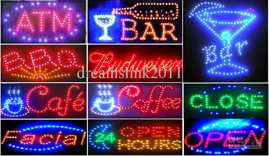 New ANIMATED BAR NEON LED OUVERT SIGN 19x10 interrupteur ON / OFF + CHAÎNE SUSPE